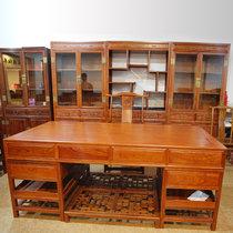 红木家具2米红木书桌?#30340;?#32769;板桌办公桌大班台两件套三组合书柜非洲黄花梨(其他 三组合书柜)