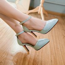 羽陌伦诗夏季新款细跟高跟鞋女百搭一字式扣带包头凉鞋浅口尖头女单鞋H013(蓝色 39)