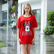 迪士尼 米奇系列 纯棉半身裙 卡通印花 女士睡衣 时尚舒适简约 圆领透气 D17SW036(红色 均码)
