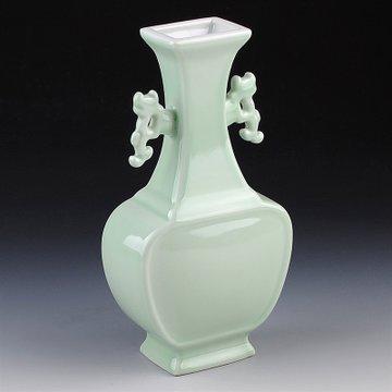南帝德镇陶瓷器 青釉扁瓶双耳花瓶 创意家居装饰工艺品客厅摆件