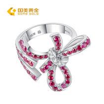 国美黄金 18K金红宝石戒指(13#)