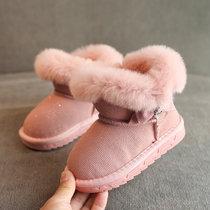 2018冬季女童雪地靴大棉靴子加绒加厚棉靴棉靴保暖冬靴儿童靴子(37 灰色)