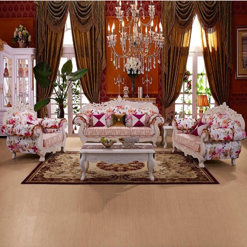 沙发君悦 欧式 布艺沙发组合 田园 实木雕花 可拆洗 高档 简欧 105-2