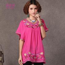 莉菲姿 民族风新款春夏款女装大码显瘦长款绣花衬衣(玫红色 均码)