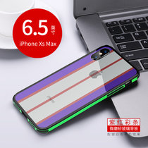 蘋果X/XS/XSmax手機殼新款彩條玻璃殼 iPhoneXs保護套防摔全包xsmax手機套蘋果x男女外殼(紫紅彩條 蘋果Xs Max 6.5英寸)