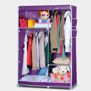 蜗家加固加大双挂式组合简易布衣柜带侧袋双向拉链开门1404(紫色 1)
