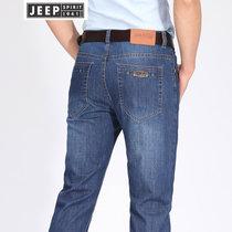 JEEP吉普牛仔长裤男春夏薄款牛仔蓝直筒长裤潮流男装弹力休闲牛仔裤子(2J-798-118蓝色 42)