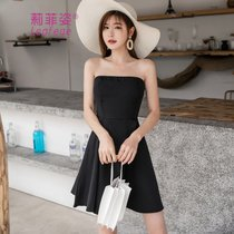 莉菲姿性感一字肩裙子裹胸小礼服短裙小黑裙抹胸连衣裙(黑色)