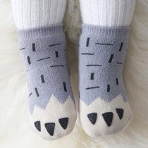 韩版超厚秋冬季儿童袜子宝宝点胶加厚婴儿地板防滑袜?#26377;?#23401;袜子棉中长筒袜保暖(天蓝色 M码)