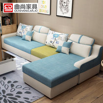 曲尚(Qushang)小户型沙发现代简约客厅整装?#23478;?#27801;发组合可拆洗布沙发家具8811(颜色请备注 双人+单人+贵妃)