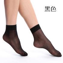 【浪莎】20雙 水晶絲春夏短絲襪 薄款肉色防勾絲襪子 女襪(黑色)