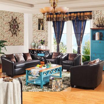 库图家具地中海沙发美式乡村沙发 皮沙发 休闲沙发 时尚沙发组合系列图片