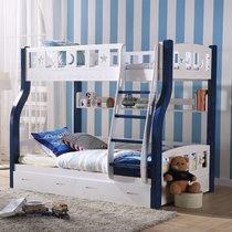 木巴實木兒童床上下床上下鋪雙層床子母床實木高低床松木母子床(藍白C309 上1.3下1.5 默認)