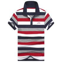 夏季T恤男短袖翻领纯棉大码条纹POLO保罗衫男装休闲修身半袖潮    S条纹(S条纹红色)