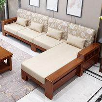美天乐 新中式实木沙发组合小户型客厅转角贵妃现代简约布艺三人位沙发床(海棠色 四人位+贵妃+茶几)