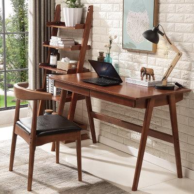 皮耐迪  小户型简易北欧实木办公桌 笔记本简约电脑桌(胡桃色 1.2m+椅子)