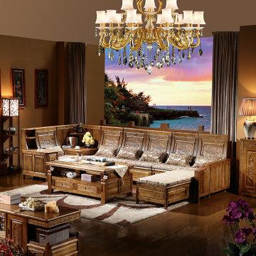 实木沙发客厅家具组合 现代中式 实木 香樟木古典精致雕花沙发(茶青色