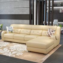 a家家具 现代头层牛皮真皮沙发组合小户型客厅皮艺沙发简约皮沙发(米黄色 三人位+左贵妃位)