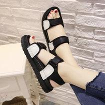 2017夏季新款韩版休闲平底防滑凉鞋女学生魔术贴平跟露趾沙滩鞋潮(37)(黑色)