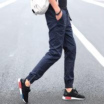 秋季男士运动裤长裤收口小脚休闲裤修身哈伦裤薄款9分九分束脚裤s188(深蓝色 XXL)