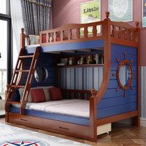 都市名門 地中海子母床全實木高低床兒童床上下床上下鋪雙層床母子床兩層木質床(默認 默認)