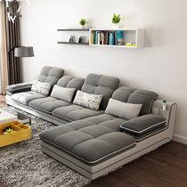 A家家具 沙发 ?#23478;?#27801;发 可拆洗透气绒布客厅家具组合套装懒人北欧现代简约小户型布沙发 灰色 三人位+中位+右贵妃位(灰色 三人位+中位+右贵妃位)