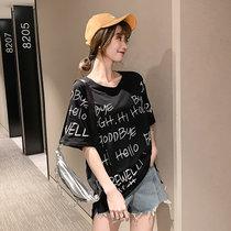字母印花t恤女夏装2019新款黑色纯棉体恤中长款短袖上衣(黑色 XL)