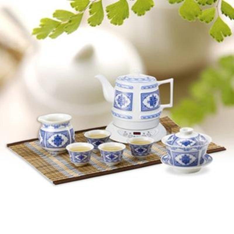 茶具格顿hy-1858bw吉祥如意陶瓷电热水壶/电热水壶茶具7件套装返回