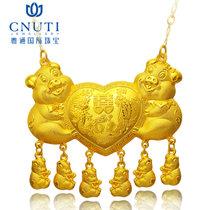 CNUTI粤通国际珠宝 黄金项链 足金套链婚庆喜庆猪排套链 约12.34g
