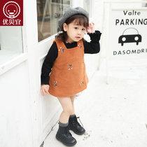 优贝宜 女童毛呢背心裙 女孩无袖连衣裙 儿童纯色裙子 宝宝冬裙(90cm 卡其色)