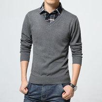 假两件衬衫领男士毛衣套头毛线衣男装韩版V领薄款春季男生针织衫E118(E118浅灰色薄款 5XL)