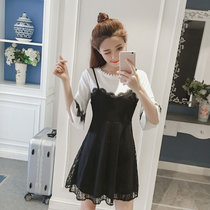莉菲姿 2017春夏新款吊带镂空荷叶边蕾丝边假两件连衣裙女(黑色 XL)