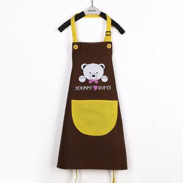 防水儿童围裙 幼儿园美术绘画小孩diy画画衣印字定制logo(防水款咖啡