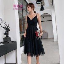 莉菲姿 吊带连衣裙女夏性感露背复古初恋仙女中长黑色礼服裙(黑色)
