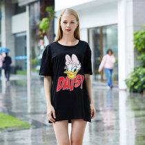 迪士尼 米奇系列 纯棉半身裙 卡通印花 女士睡衣 时尚舒适简约 圆领透气 D17SW037(黑色 均码)