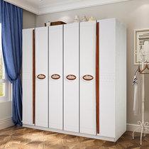 木巴衣柜 臥室環保收納柜 簡約現代衣櫥 經濟型時尚6門套色大衣柜(象牙白YG071 默認)