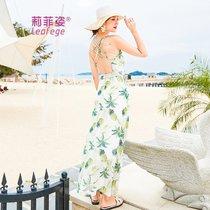 莉菲姿 夏巴厘岛沙滩裙海边度假露背吊带雪纺连衣裙超仙女显瘦长裙(图色)