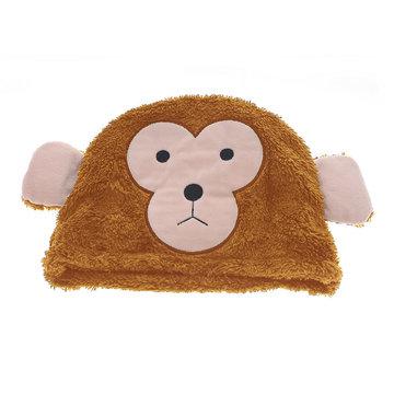 依吉饰 春季女帽子 耳朵保暖帽 可爱小猴头套 卡通亲子帽(浅色 可调节