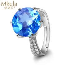 梦克拉Mkela S925银?#20449;?#30707;戒指 ?#20351;?彩色宝石立锆指环蓝黄玉戒指