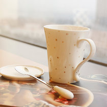 創意陶瓷杯子 馬克杯套裝 情侶杯水杯套裝咖啡杯帶蓋帶勺英倫風(漫天繁星)