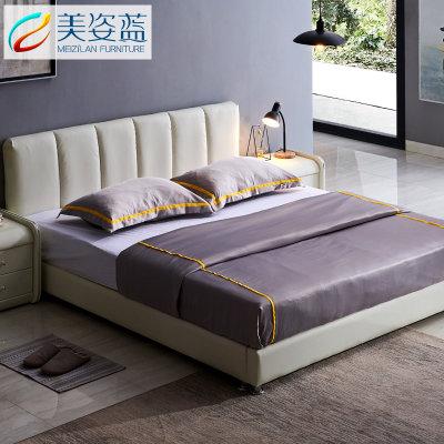 美姿蓝 现代简约真皮双人床 (1.8*2.0m 床+椰棕床垫+床头柜*1) 2399元包邮