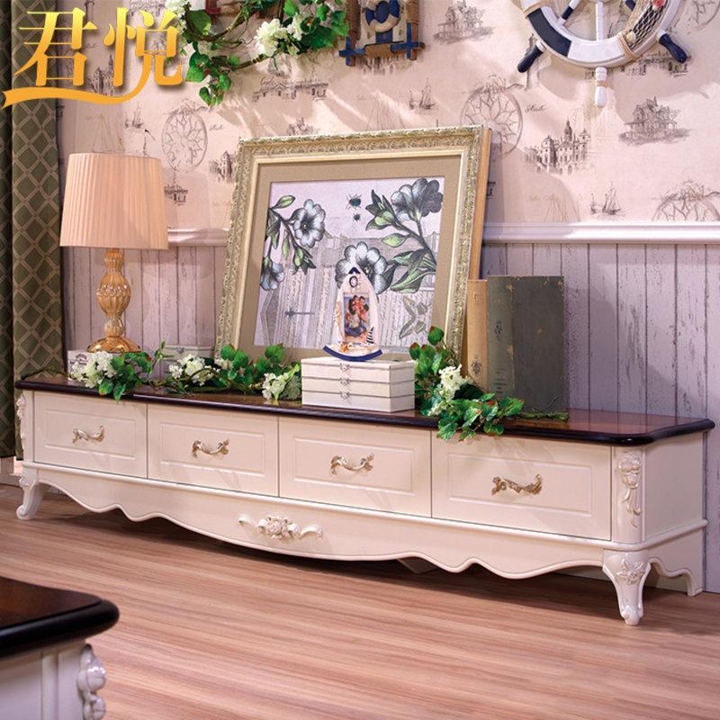 君悦 地中海实木电视柜组合电视机柜客厅美式乡村地柜