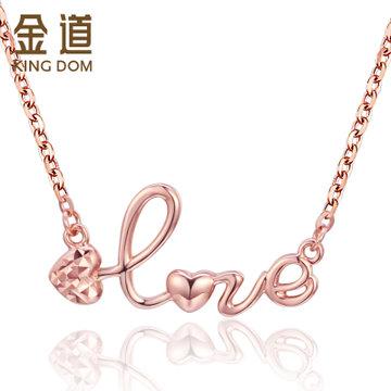 金道18k金套链玫瑰金love字样心形k金项链2017新款女