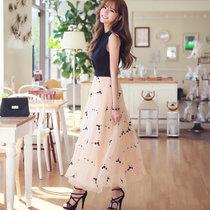 Mistletoe夏季新款女装明星款高腰长裙 无袖?#37319;?#25340;接刺绣欧根纱连衣裙F6670(黑色 M)