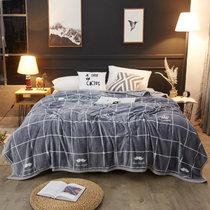 卡贝纶毛毯冬季珊瑚绒加厚保暖法兰绒床单羊羔绒毯宿舍午睡毯子(深灰)