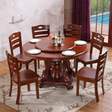 现代中式实木餐桌椅组合家具 组装圆形带转盘饭桌6人家用实木餐桌