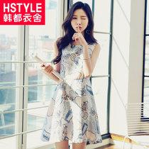 韩都衣舍2017韩版女装夏新款修身显瘦印花无袖连衣裙GJ6104茆0315(白色 S)