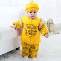 秋冬婴儿唐装哈衣爬服外出服满月服礼服长袖(100码(建议身高90-100cm) 吉祥黄)
