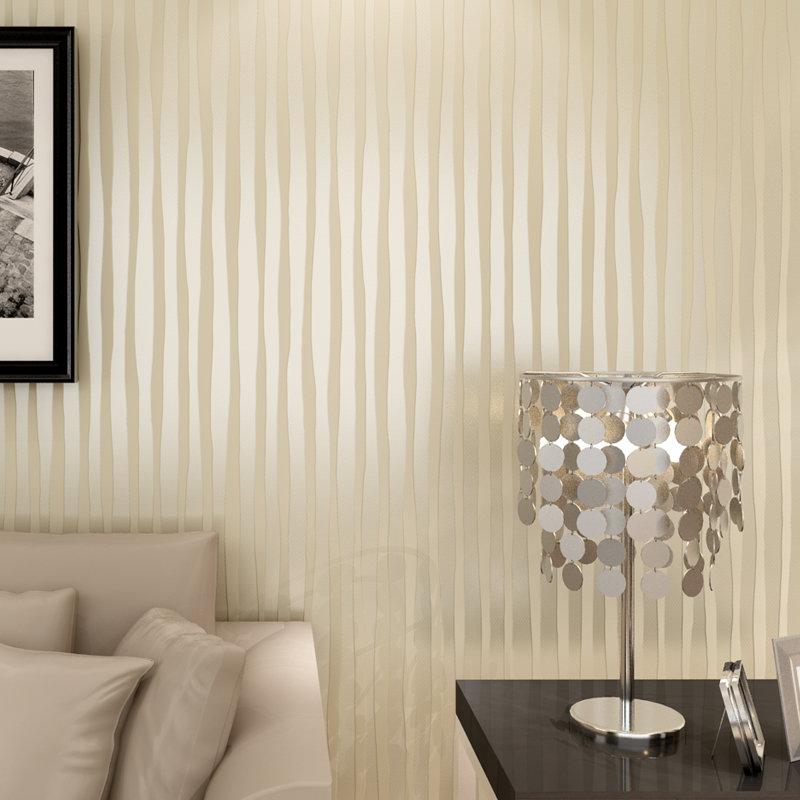 睐可现代简约素色竖条纹墙纸 无纺布3d立体壁纸 背景客厅卧室餐厅(浅