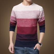 男装秋装男士针织衫潮韩版外套男士粗线圆领拼接套头毛衣男S1619(红色 L)